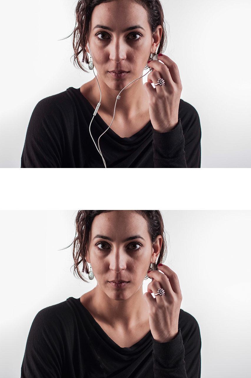 Sara, headphones